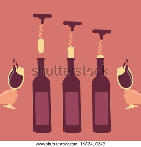 steps for crokscrew vector. hand holding wine glass. How to open a bottle of wine art cartoon concept. opened red wine bottle for holiday. winery festival flat design. opener wine key isolated uncork