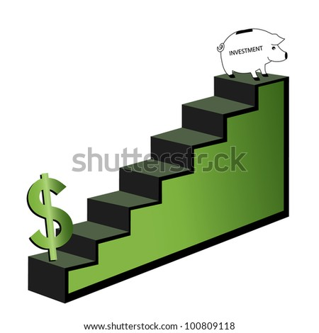 steps  to saving money  piggy bank at the end of steps