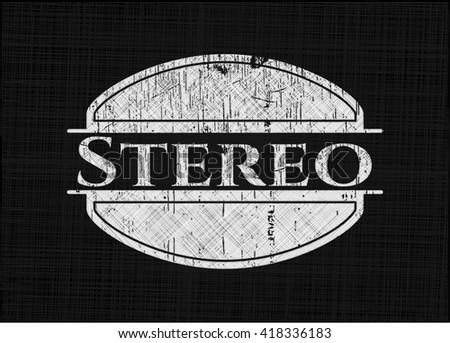 Stereo chalk emblem, retro style, chalk or chalkboard texture