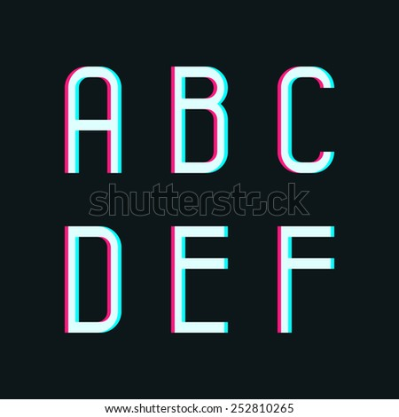 Stereo font, letters a, b, c, d, e, f on dark background