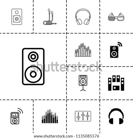 Stereo icon. collection of 13 stereo filled and outline icons such as loud speaker set, music loudspeaker, loudspeaker, mp3 player. editable stereo icons for web and mobile.