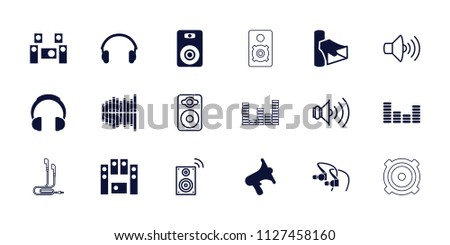 Stereo icon. collection of 18 stereo filled and outline icons such as volume, loud speaker set, equalizer, earphones, audio system. editable stereo icons for web and mobile.