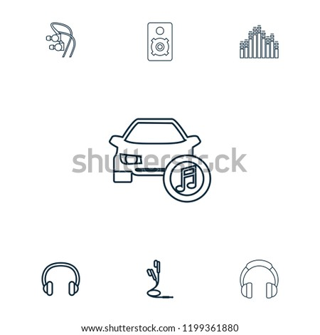 Stereo icon. collection of 7 stereo outline icons such as earphones, headset, headphones, loudspeaker, car music. editable stereo icons for web and mobile.