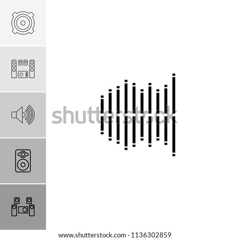 Stereo icon. collection of 6 stereo outline icons such as speaker, equalizer, audio system, volume. editable stereo icons for web and mobile.