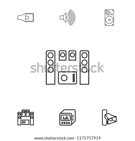 Stereo icon. collection of 7 stereo outline icons such as volume, loud speaker set, loud speaker with equalizer. editable stereo icons for web and mobile.