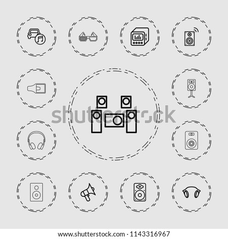 Stereo icon. collection of 13 stereo outline icons such as volume, loudspeaker, car music, earphones, loud speaker with equalizer. editable stereo icons for web and mobile.