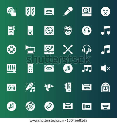 stereo icon set. Collection of 36 filled stereo icons included Cassette, Vinyl, Music, Jukebox, Voice recorder, Blaster, Karaoke, Dj mixer, Mute, Levels, Headphones, Earbuds, Turntable