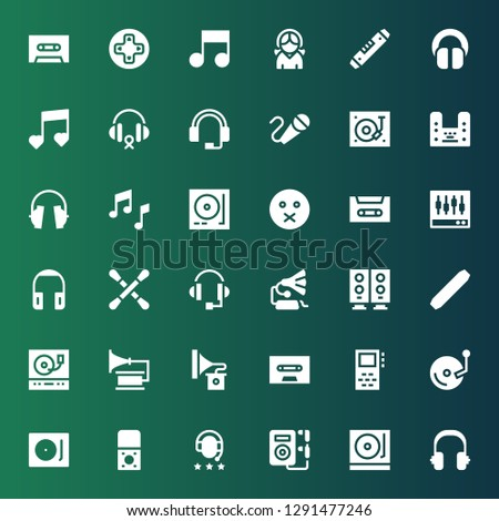 stereo icon set. Collection of 36 filled stereo icons included Headphones, Turntable, Music, Recorder, Record player, Vinyl, Record, Cassette, Gramophone, Level, Woofer, Headphone