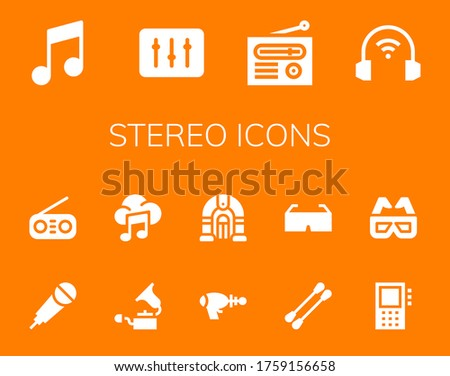 stereo icon set 14 filled