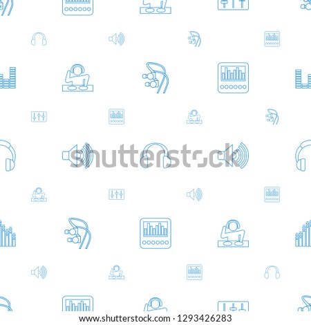 stereo icons pattern seamless white background. Included editable line earphones, headset, sliders, dj, volume, loud speaker with equalizer icons. stereo icons for web and mobile.