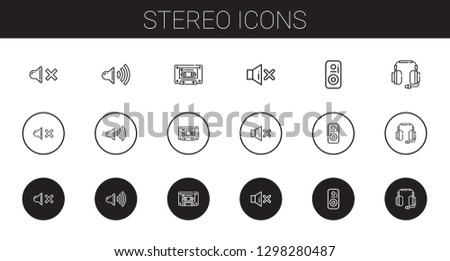 stereo icons set. Collection of stereo with mute, speaker, cassette, headphones. Editable and scalable stereo icons.