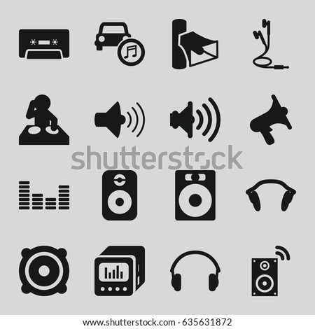 Stereo icons set. set of 16 stereo filled icons such as volume, speaker, cassette, equalizer, car music, earphones, loud speaker with equalizer, music loudspeaker