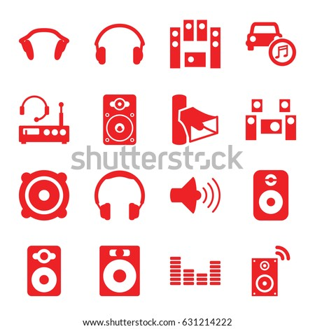 stereo icons set set of 16
