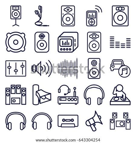Stereo icons set. set of 25 stereo outline icons such as volume, speaker, loud speaker set, cassette, equalizer, sliders, loudspeaker, car music, earphones