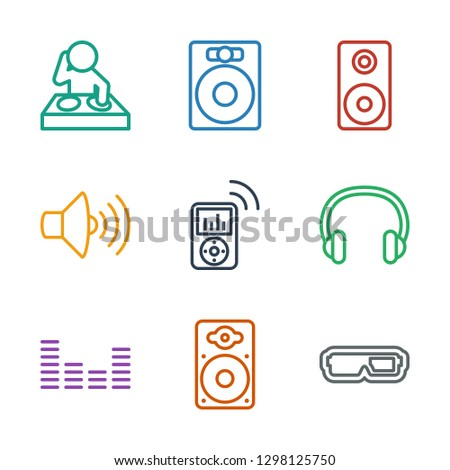 stereo icons. Trendy 9 stereo icons. Contain icons such as d glasses, loudspeaker, equalizer, headset, mp player, volume, speaker, dj. stereo icon for web and mobile.