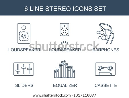 stereo icons. Trendy 6 stereo icons. Contain icons such as loudspeaker, earphones, sliders, equalizer, cassette. stereo icon for web and mobile.