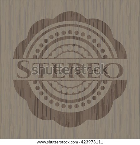 Stereo retro wood emblem