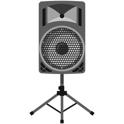 Stereo speaker on tripod stand vector. Loudspeaker isolated on white background. Music sound amplifier multimedia audio system