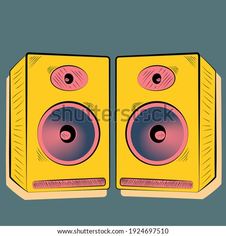 stereo speakers in yellow and