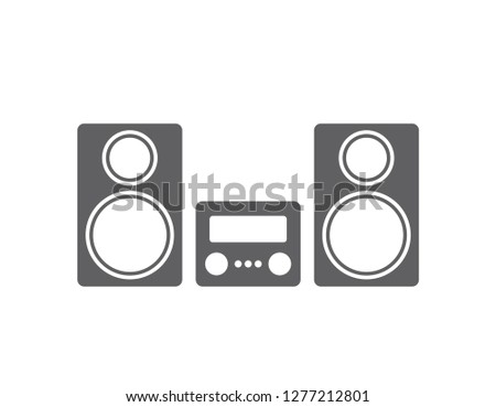Stereo system illustration. Stereo system icon.