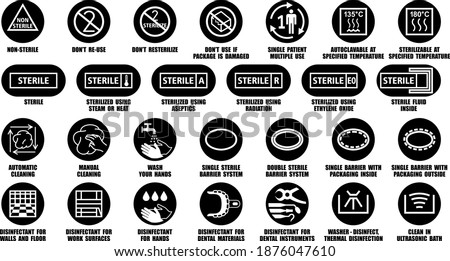 Sterile and non-sterile black icons isolated on white. Full vector package collection of disinfectant symbols for medical device, equipment, instruments, materials Сток-фото ©