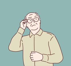 stern old man. Hand drawn style vector design illustrations.