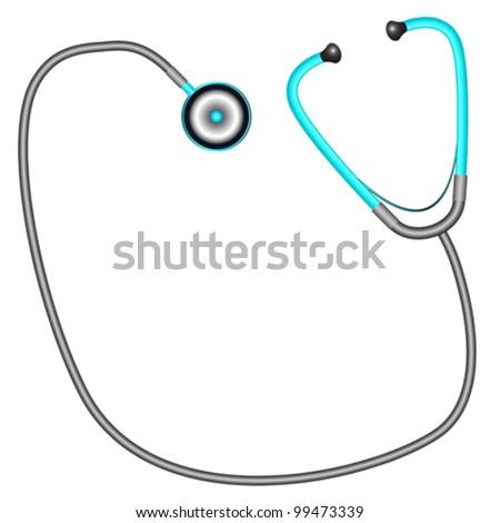 stethoscope against white background, abstract vector art illustration