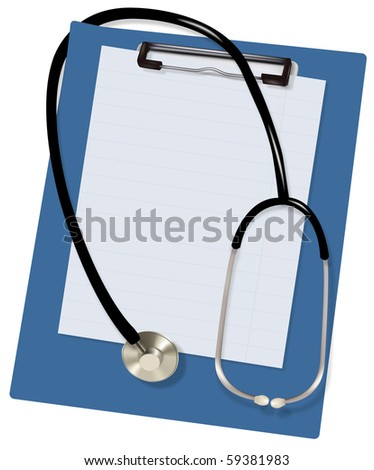 Stethoscope and blank clipboard. Vector