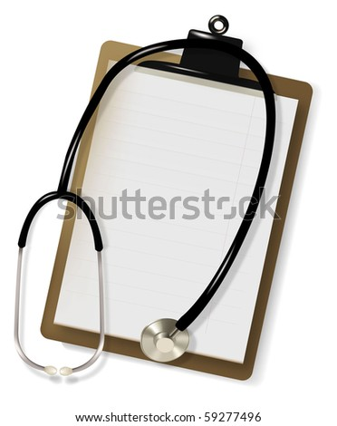 Stethoscope and blank clipboard with a sheet of white paper on it. Vector.