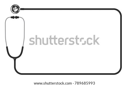 Stethoscope black color and rectangle shape frame made from cable isolated on white background, with copy space