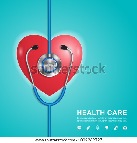 stethoscope, heart and heartbeat flat icons in medicine, medical, health, cross, healthcare decoration for flyers, poster, web, banner, and card vector illustration
