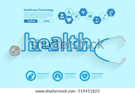 Stethoscope in the shape of a health words design, Vector illustration modern design template