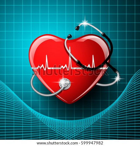 Stethoscope medical equipment, heart shape on the monitor screen background. Vector illustration.