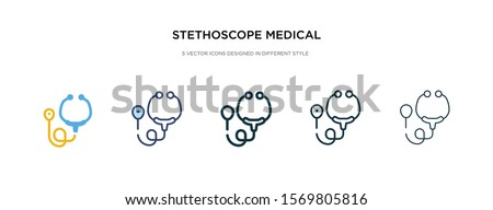 stethoscope medical heart beats control tool icon in different style vector illustration. two colored and black stethoscope medical heart beats control tool vector icons designed in filled, outline,