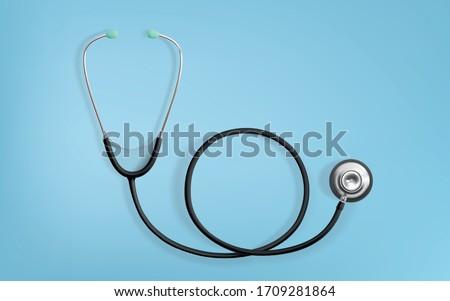 Stethoscope Medical, Stethoscope Equipment, Medicine Equipment on Blue background. Realistic 3D Vector Illustration. Сток-фото ©