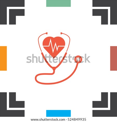 Stethoscope with hearth vector icon. Medical equipment sign. Hospital care symbol