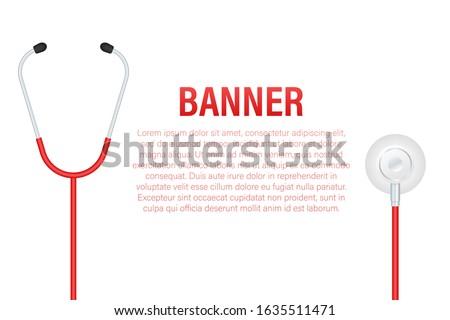 Stethoscopes banner, medical equipment for doctor. Vector stock illustration