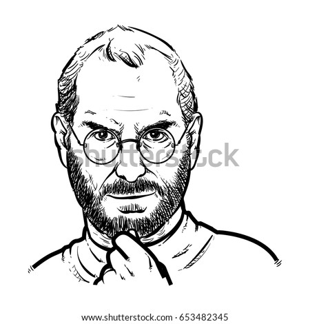 steve jobs hand drawing outline