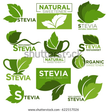 Stevia sweetener sugar substitute vector healthy product icons and labels