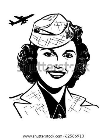 stewardess   retro clipart