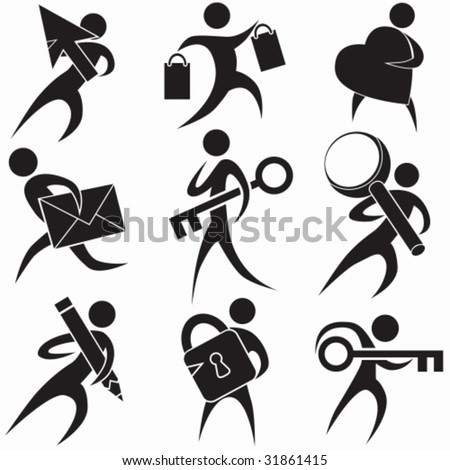 Stick Figure Black Set - stock vector