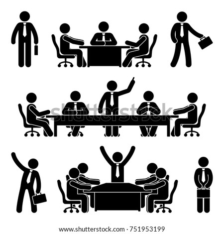 Stick figure business meeting set. Finance chart person pictogram icon. Employee solution marketing discussion.