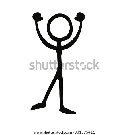 Stick figure celebration cheer