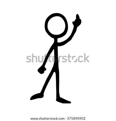 Stick figure Communication the finger gesture