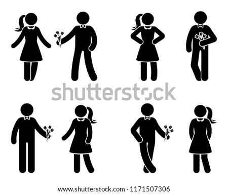 Stick figure couple in love icon set. Man giving flowers to woman pictogram