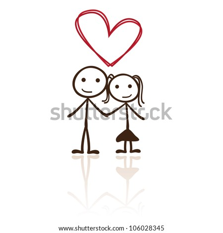 stick figure couple with heart