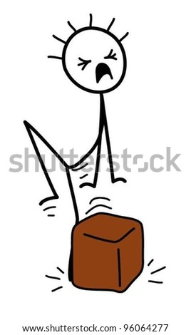 stick figure dropping a box on their foot - stock vector