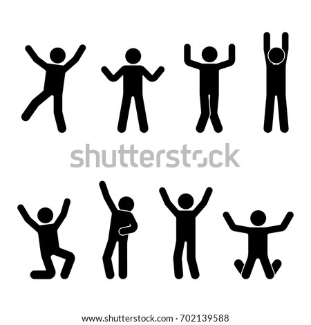 Stick figure happiness, freedom, jumping, motion set. Vector illustration of celebration poses pictogram