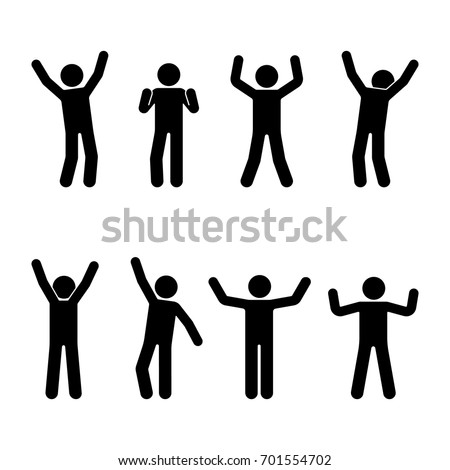 Stick figure happiness, freedom, motion set. Vector illustration of celebration poses pictogram