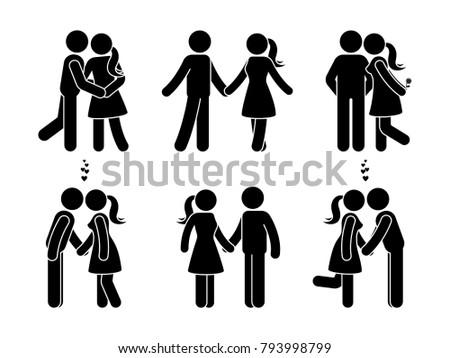 stick figure happy couple in